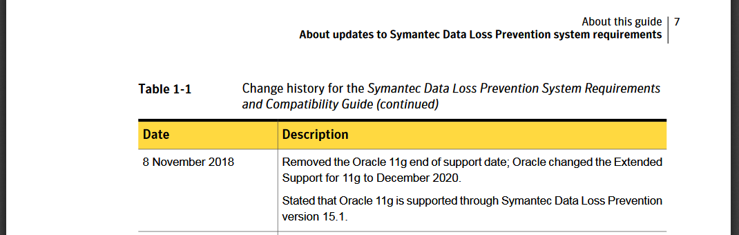 EOL of Oracle 11g – INSIGHT DLP Support Center